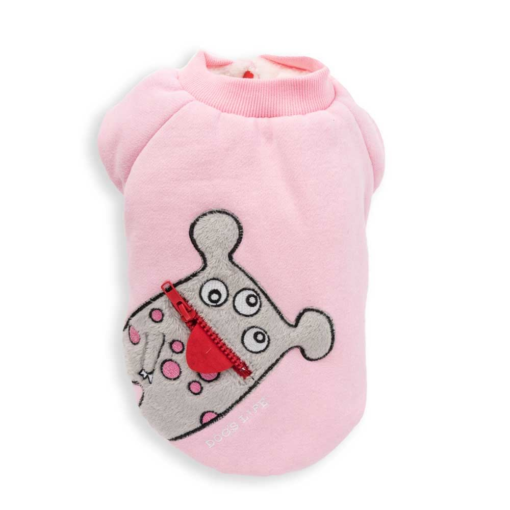 Dog's Life Monster Hoodies with Tongue Pink front