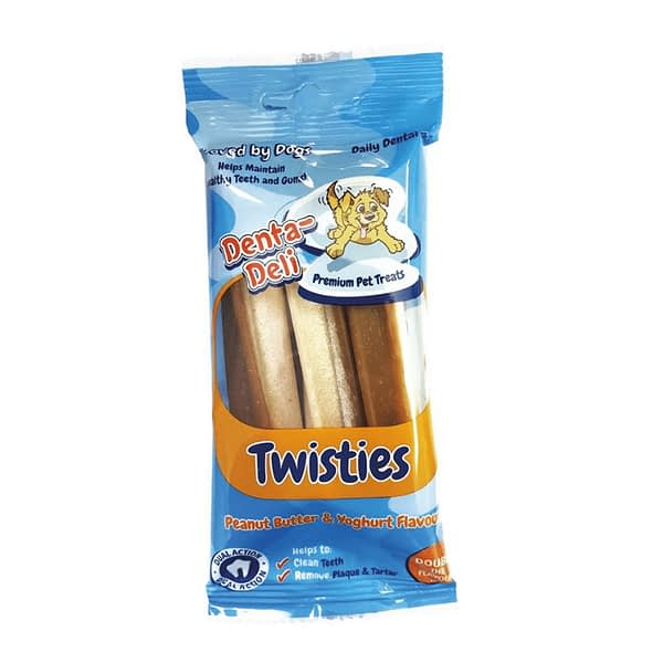 Denta-Deli Twisties Peanut Butter & Yoghurt Dog Treats