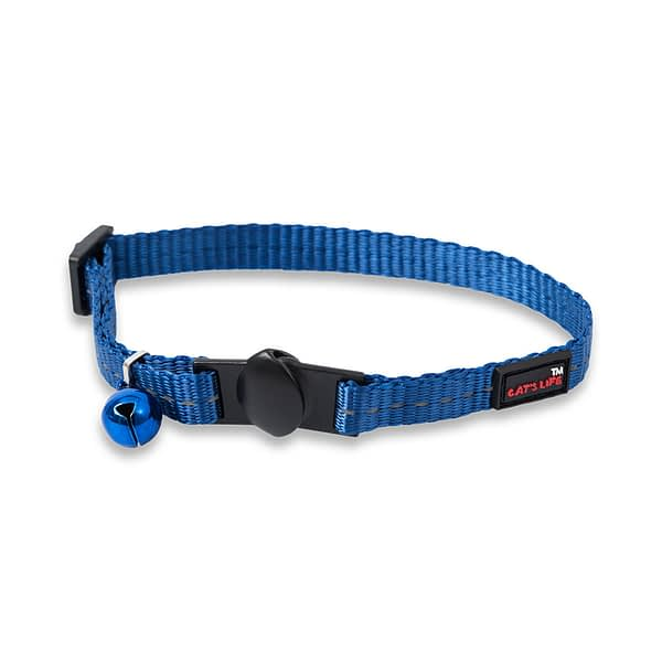 Dog's Life Reflective Supersoft Webbing Cat Collar - Yale Blue