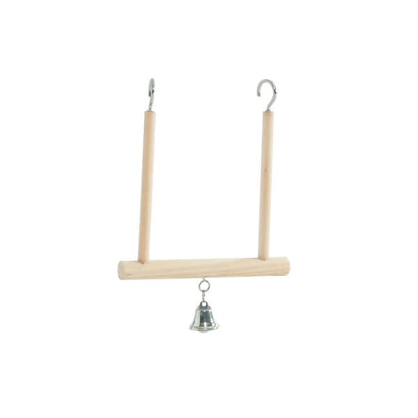 Beeztees Wooden Swing and Bell Bird Toy