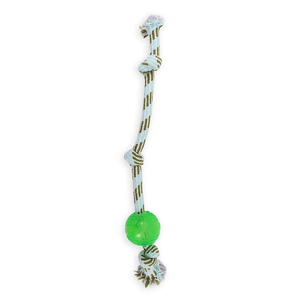 Dog's Life TPR ball 3-knot rope toy green