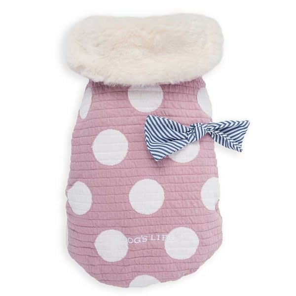 Dog's Life Polkedot Winter Cape with Stripe Bow (Pink) front