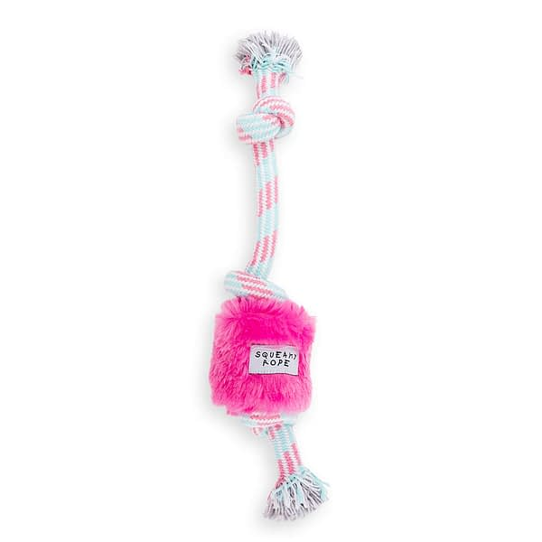 Dog's Life Squeaky rope toy pink