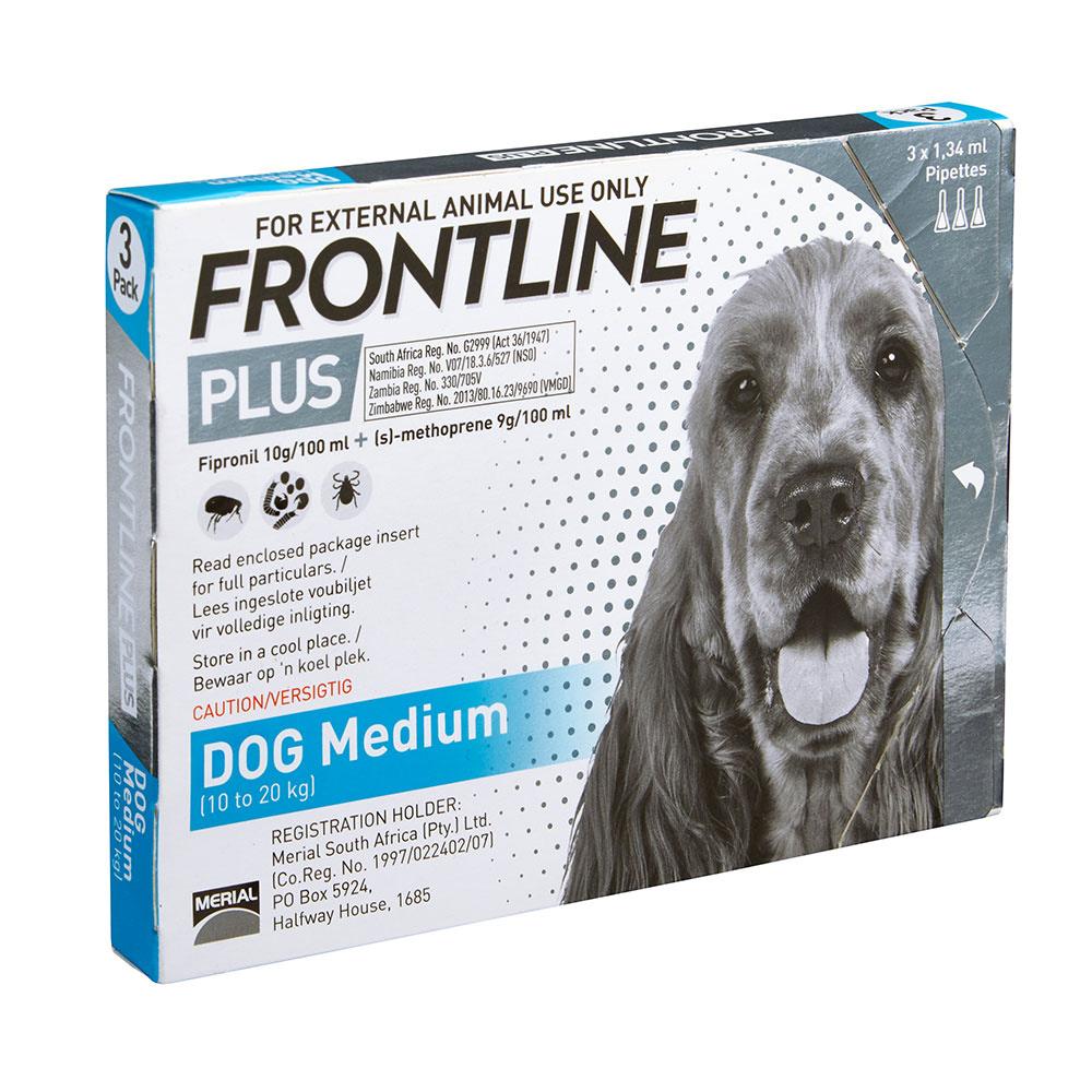 FRONTLINE Plus 10 kg - 20 kg Medium Dogs Box of 3