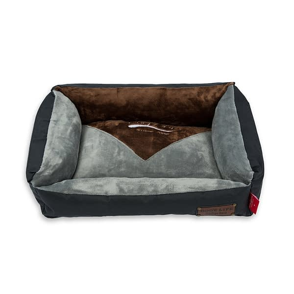 Dog's Life Vintage Lounger Waterproof Winter Bed - Dark Grey and Brown