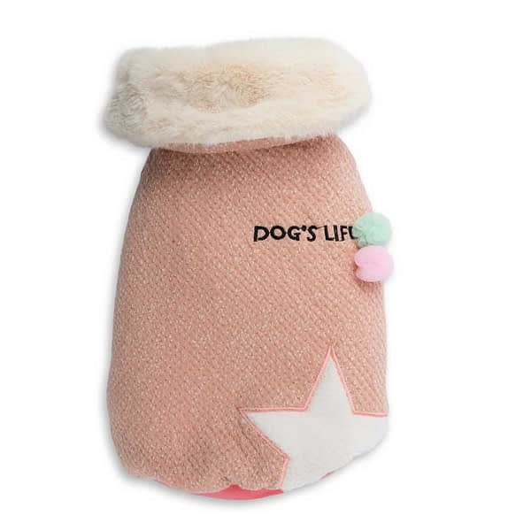 Dog's Life Woolly Cape with Star and Pompom (Pink) front