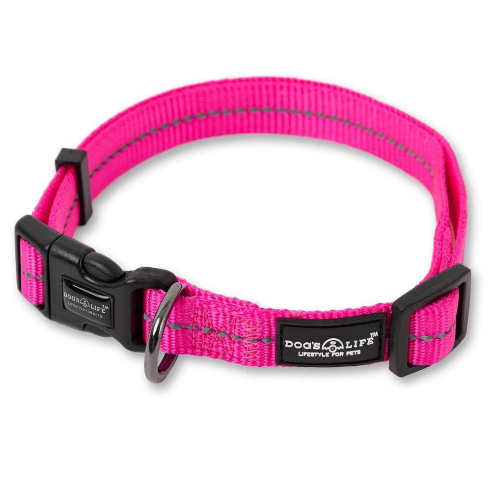 Dog's Life Reflective Supersoft Webbing Collar - Hot Pink