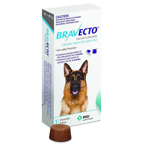 Bravecto Large Dog 1000mg (20-40kg)
