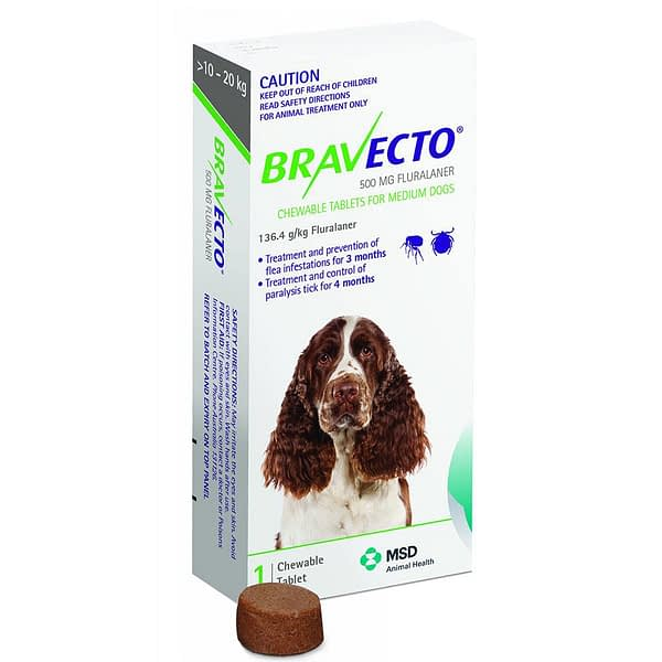 Bravecto Medium Dog 500mg (10-20Kg)
