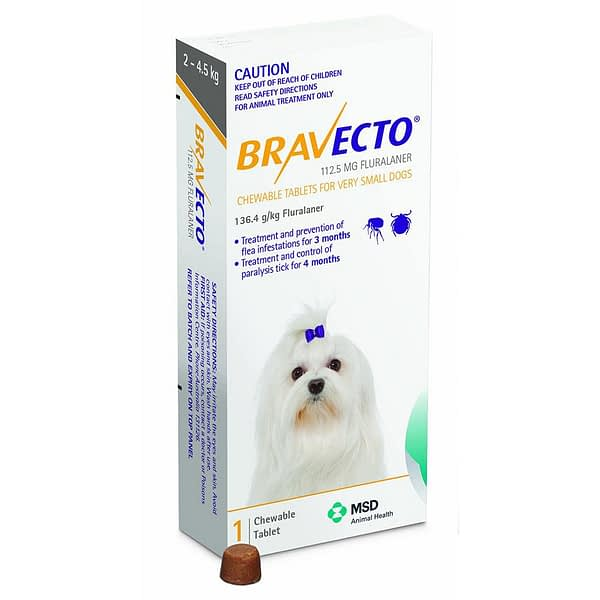 Bravecto Toy Dog 112.5mg (2-4.5kg)