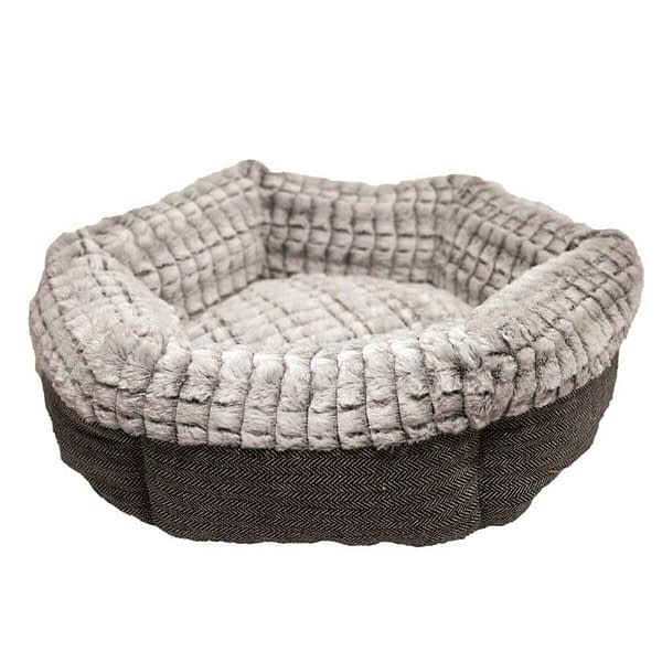 Rosewood Tweed and Plush Round Bed